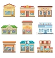 Commercial Buildings Facade Design Set Of Stickers vector image