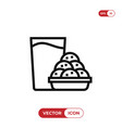 cookies and milk icon vector image vector image