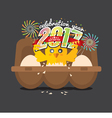 Cute Chick Celebrating 2017 With Colorful Firework vector image vector image