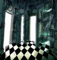 Dark Room with Many Doors vector image vector image