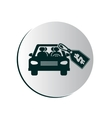 degrade button with car and price tag vector image