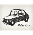 doodle black and white hand drawn retro car vector image