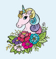 doodle cute unicorn in colors color vector image vector image