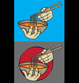 exotic asian spicy noodle soup chopsticks vector image