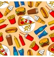 Fast food pattern with snacks and beverages vector image vector image