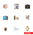 flat icon lifestyle set of router beer with chips vector image vector image