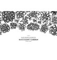 floral design with black and white succulent vector image