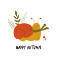 funny smiling snail in scarf autumn vibes vector image vector image