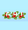 g h i letters surrounded summer tropical leaves vector image