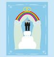 gay marriage cake card design vector image vector image