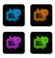glowing neon tv and gear icon isolated on white vector image vector image