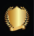 gold and black shield with laurels 09 vector image