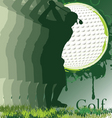 golf poster with player silhouette vector image vector image
