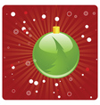 Green Christmas ball on red background vector image vector image