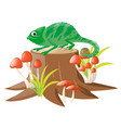 green lizard standing on log vector image