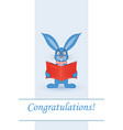 greeting card blue rabbit with a red book vector image vector image