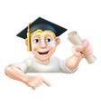learning graduate man pointing down vector image vector image