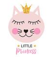 little cute cat princess vector image vector image