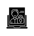 make account private black glyph icon vector image vector image