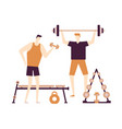 men at the gym - flat design style colorful vector image