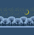 night winter landscape with snowy park trees vector image vector image