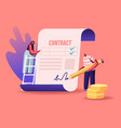 people make a deal agreement checking and signing vector image