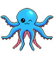 pixel cute octopus detailed isolated vector image