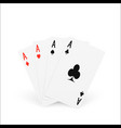 playing card four of a kind or quads ace design vector image vector image