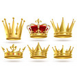 realistic golden crowns king prince and queen vector image vector image