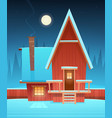 red house in snow vector image vector image