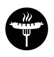sausage grilled with fork icon vector image vector image