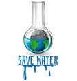 Save water theme with earth in flask vector image vector image
