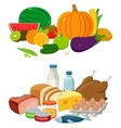 Set of cartoon food and drinks for restaurant or vector image vector image