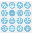 Set of Sixteen Blue Shades Snowflake Ornaments vector image