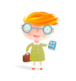 smart little school girl wearing glasses with book vector image