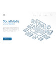 social media network modern isometric line vector image