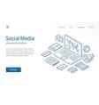social media network modern isometric line vector image vector image