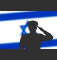 solder silhouette on blur background with israel vector image