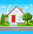 suburban house with trees and city background vector image