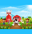 the cowboy and cowgirl at the farm with animals vector image vector image