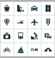 transport icons set with falling rock airplane vector image