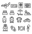 travel icons black outline vector image vector image