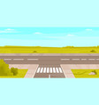 view pedestrian crossing and field landscape vector image vector image