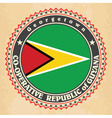 Vintage label cards of Guyana flag vector image vector image
