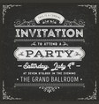 vintage party invitation card on chalkboard vector image vector image