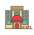 hotel flat line concept vector image