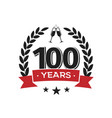 100 th birthday vintage logo template hundred vector image