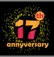 17 year anniversary template design vector image