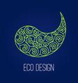 abstract natural linear logo green symbol yin vector image vector image