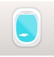 Aircraft window with cloudy blue sky outside vector image vector image